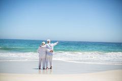 Senior couple embracing and pointing Royalty Free Stock Image