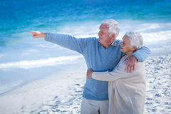 Senior couple embracing and pointing Stock Image