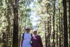 Free Senior Couple Enjoy Together Outdoor Leisure Activity Walking In The Forest - Beautiful Aged People Smile And Hug With Stock Image - 191216661