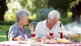 Senior Couple Enjoying Barbeque In Garden stock video footage