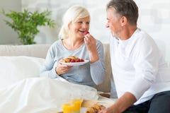 Senior couple enjoying breakfast in bed. Smiling Stock Images