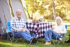 Senior Couple Enjoying Camping Holiday stock photos