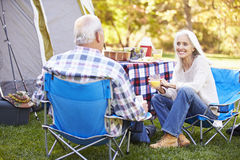 Senior Couple Enjoying Camping Holiday Stock Images