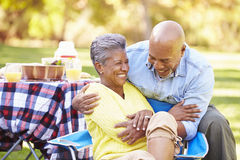 Senior Couple Enjoying Camping Holiday. In Countryside Laughing stock photos