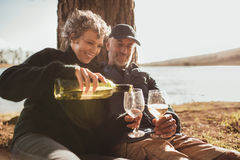 Senior couple enjoying drinks at campsite near Lake Royalty Free Stock Photo