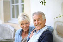 Senior couple enjoying free time outdoors stock images