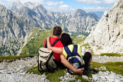 Senior couple enjoying holidays in mountains. Happy senior couple looking at views in mountains Royalty Free Stock Images
