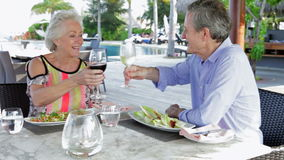 Senior Couple Enjoying Meal In Outdoor Restaurant. Senior couple toast one another before eating meal in outdoor restaurant.Shot on Canon 5d Mk2 with a frame stock footage