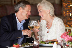 Senior Couple Enjoying Meal In Restaurant Stock Photography