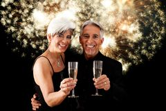 New Year`s Senior Couple Stock Photos