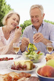 Senior Couple Enjoying Outdoor Meal Together Stock Photo