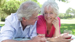 Senior Couple Enjoying Picnic Together. Older couple lying on grass facing camera chatting and drinking wine together.Shot on Canon 5d Mk2 with a frame rate of stock video footage