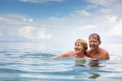 Senior couple enjoying the retirement on a seacost Stock Image