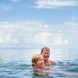 Senior couple enjoying the retirement on a seacost Stock Photo