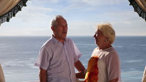 Senior couple enjoying their summer vacation stock video