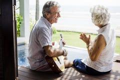Senior couple enjoying their vacation stock photo