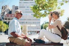 Senior couple enjoying their vacation Stock Photography
