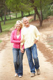 Senior Couple enjoying walk in park Royalty Free Stock Image