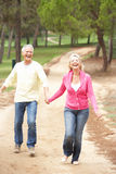Senior Couple enjoying walk in park Royalty Free Stock Photography
