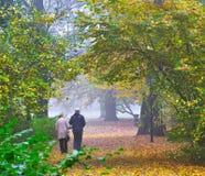 Senior couple enjoying walking in autumn Park Royalty Free Stock Images