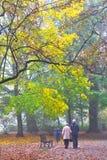 Senior couple enjoying walking in foggy autumn Park Stock Photo