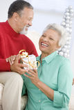 Senior Couple Exchanging A Christmas Gift Stock Photos