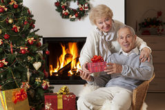 Senior couple exchanging Christmas gifts Royalty Free Stock Photo