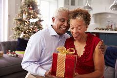 Senior Couple Exchanging Christmas Gifts At Home Royalty Free Stock Image