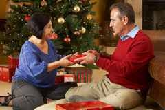 Senior Couple Exchanging Gifts Stock Images