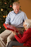 Senior Couple Exchanging Gifts Royalty Free Stock Photography