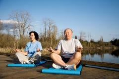 Senior couple exercise Stock Photo