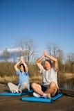 Senior couple exercise Stock Photos