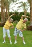 Senior couple exercising Royalty Free Stock Photo