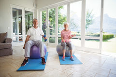 Senior couple exercising with dumbbells on exercise ball. At home Royalty Free Stock Image