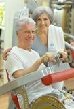 Senior Couple Exercising In gym Stock Image