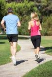 Senior Couple Exercising In Park Stock Photo