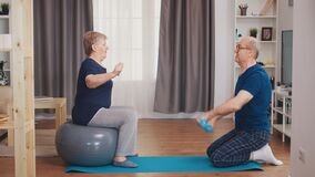 Senior couple exercising