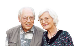 Senior couple with eyeglasses. Happy senior couple with eyeglasses on white background Royalty Free Stock Photos