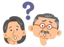 Senior couple feeling doubts, Worried , Anxious. The image of a Senior couple feeling doubts, Worried , Anxious stock illustration