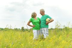 Senior couple in field with ball Stock Photography