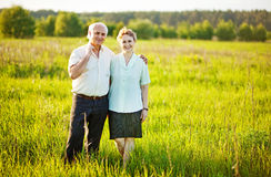 Senior couple in a field Stock Photography