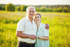Senior couple in a field Stock Photo