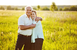 Senior couple in a field Royalty Free Stock Image