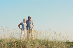 Senior couple on the field Royalty Free Stock Images