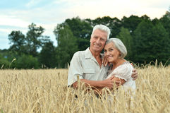 Senior couple on field of wheat Stock Images