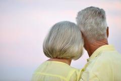 Senior couple on field of wheat Royalty Free Stock Photos