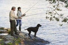 Senior couple fishing royalty free stock photography