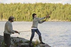 Senior couple fishing stock image