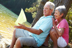 Senior couple fishing together Stock Image