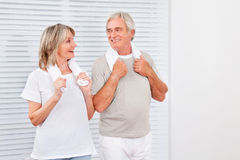 Senior couple in fitness center Stock Image